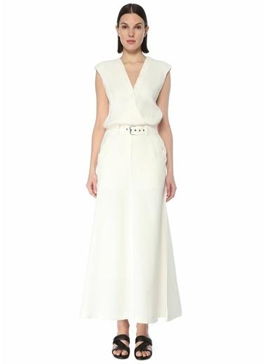 Brunello Cucinelli Brunello Cucinelli  V Yaka Kemerli Kolsuz Maksi Elbise 101614002 Beyaz